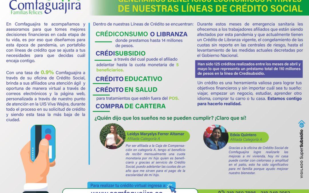 Generamos Beneficios Económicos a través de  nuestras Líneas de Crédito Social